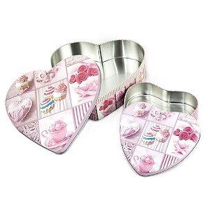 Porta Objetos 2 Peças Coração Rosa