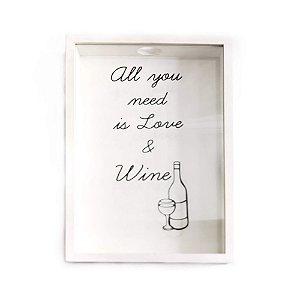 Quadro Rolha Branco Love & Wine