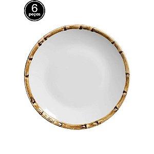 Conjunto 6 Pratos Sobremesa Bambu Scalla Cerâmica