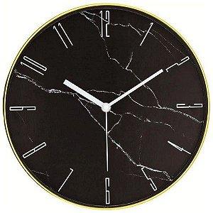 Relógio Parede Marmorizado Preto/ Dourado Mart