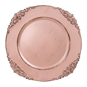 Sousplat Galles Barroco Rose Gold Antique Copa&Cia