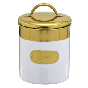 Pote Para Café Branco e Dourado Mabruk