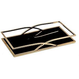 Bandeja Retangular Dourado Preta Metal P