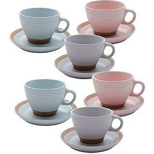 Conjunto 6 Xícaras Chá Romance Colorida Bon Gourmet