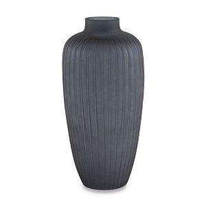 Vaso Com Relevo - Cinza Escuro - 35 x Ø 17 cm