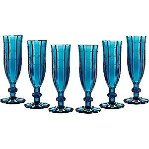 Jogo 6 Taças Safira Azul Para Champanhe 100 ml