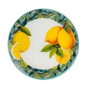 Jogo 4 Pratos Rasos Cristal Lemons Amarelo Bon Gourmet
