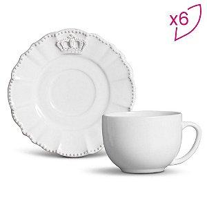Jogo Xícara Chá Windsor- Branco e Cinza - 6pçs - 260ml - Porto Brasil