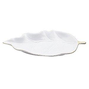 Prato Decorativo White Leaf - Branco e Dourado