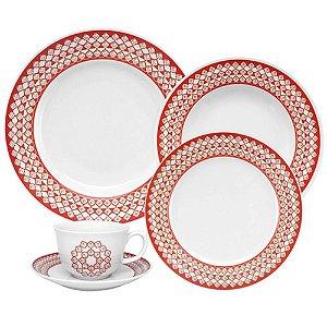 Aparelho Jantar Chá 30 Peças Flamingo Flor Lis Oxford
