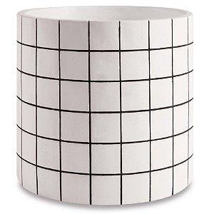 Cachepot Branco Cimento Quadriculado M