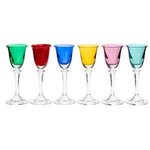 Conjunto 6 Taças Para Licor Colorida Bohemia
