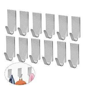Kit 12 Ganchos De Metal Adesivo Multiuso Quadrado Pendurar Objeto