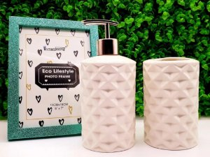 Kit Banheiro Porta Sabonete Líquido Suporte Escova De Dente