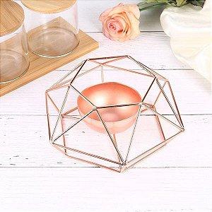 Castiçal Porta Vela Aramado Rose Gold Geométrico Decoração