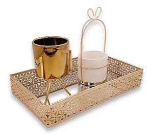 Bandeja Decorativa Metal Dourada Espelhada Luxo Enfeite 9420