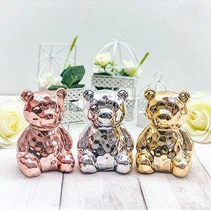 Enfeites Decorativo Urso Em Porcelana Metalizado 7 Cm