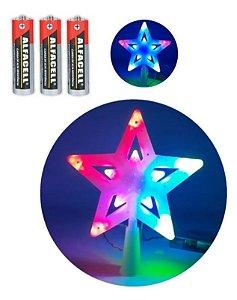 Estrela Ponteira Para Árvore De Natal Colorida Pisca Pisca 10 Led A Pilha