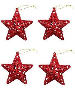 Kit 4 Estrelas Vermelha Com Glitter Vazada 8cm Pendente Natal