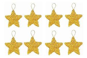 Kit 16 Estrelas Pendente Dourada Brilhante 6cm Árvore De Natal