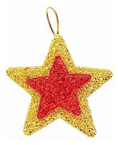 Kit 4 Estrelas Brilhante Pendente Colorida 9,5cm Para Árvore Natal
