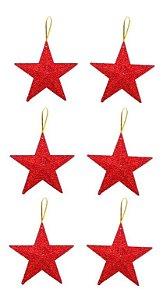 Kit 6 Estrelas Pendente Glitter Vermelha 11cm Para Árvore Natal