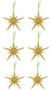 Kit 6 Estrelas Pendente Glitter Dourada 11,5c, Para Árvore Natal