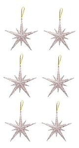 Kit 6 Estrelas Pendente Glitter Prata 11,5cm Para Árvore Natal