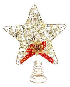 Estrela Ponteira Dourada De Metal Para Árvore De Natal 18 Cm