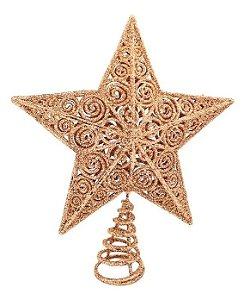 Estrela Ponteira Rose Gold Vazada Glitter 20cm para Árvore De Natal