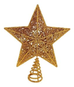 Estrela Brilhante Dourada Ponteira 20 Cm Para Árvore De Natal
