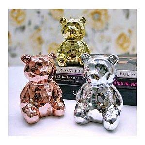 Enfeite Decorativo Urso Sentado Em Porcelana Metalizado