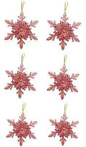 Kit 6 Flocos De Neve Folha Glitter Rose Gold 12cm Pendente Enfeite Natal