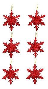 Kit 6 Flocos De Neve Folha Glitter Vermelho 12cm Pendente Enfeite De Natal