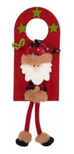 Enfeite Papai Noel Com Pernas Para Porta 39cm Boneco Tecido Natal
