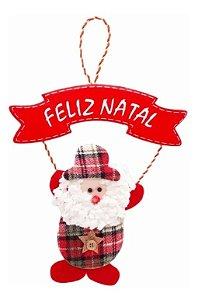 Enfeite De Porta Pendente Papai Noel Em Tecido Xadrez 30cm Natal