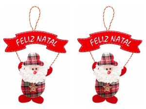 Kit 2 Enfeites De Porta Pendente Papai Noel Em Tecido Xadrez Natal