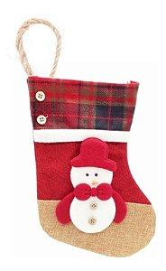 Bota Papai Noel Tecido Pendente Para Porta Boneco Neve Natal