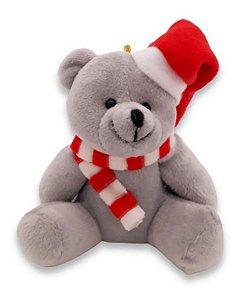 Urso Pelúcia Natalino Cinza Enfeite Pendente P/ Árvore Natal 15 Cm