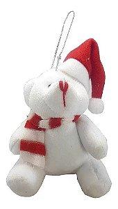 Urso Pelúcia Natalino Branco Enfeite Pendente P/ Árvore Natal 15 Cm