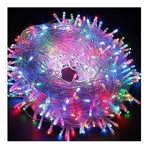 Pisca Colorido Fio Transparente 200 Lâmpadas 8 Funções Led 127v 15m