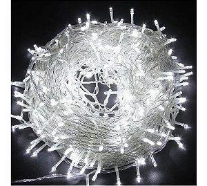 Pisca Branco Fio Transparente 200 Lâmpadas 8 Funções Led 127v 15m