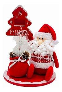 Enfeite Decorativo Papai Noel Pano Árvore Calendário Madeira