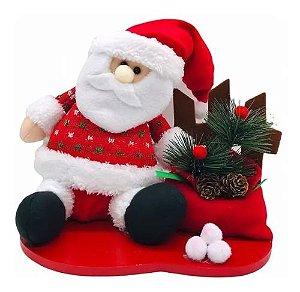 Boneco Papai Noel De Pano Sentado Enfeite De Natal Madeira