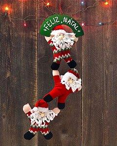 Enfeite De Natal Pendente Trio Papai Noel Equilibrista Placa