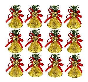 Kit 12 Sinos Natalino Dourado Pendente Enfeite Árvore Natal