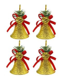 Kit 4 Sinos Natalino Dourado Pendente Enfeite Árvore Natal
