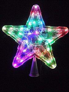 Estrela Pisca Pisca Ponteira Colorido Led Arvore De Natal Natalino 25 Cm