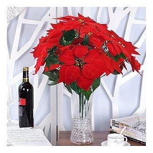 Kit Com 6 Buquê Flor De Natal Vermelha Aveludada Bico De Papagaio