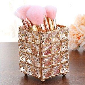 Porta Objeto Pincel De Maquiagem Enfeite Decorativo Metal Aramado Cristal